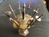 Suport spaniol cu 7 sabii Toledo miniaturale