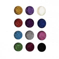Set 12 Culori Sclipici Unghii Fin Multicolor – Nail Art