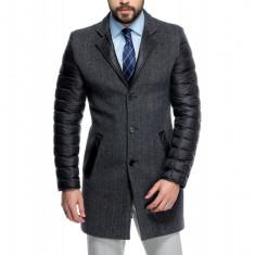 Palton Barbati Gri Casual Lung cu Maneci Umplute cu Puf de Gasca B145 Eer