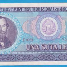 (5) BANCNOTA ROMANIA - 100 LEI 1966, PORTRET NICOLAE BALCESCU. STARE FOARTE BUNA