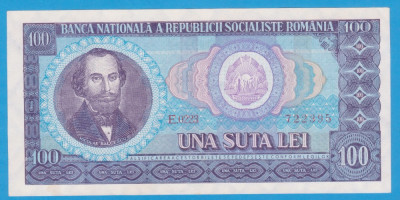 (5) BANCNOTA ROMANIA - 100 LEI 1966, PORTRET NICOLAE BALCESCU. STARE FOARTE BUNA foto