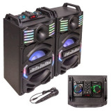 Set 2 Boxe Karaoke, 350 W, 1 activ + 1 pasiv, 25 cm, aux, bluetooth, LED RGB, usb, micro sd, Negru, General