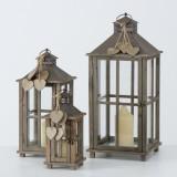 Cumpara ieftin Set 3 felinare decorative din lemn Polly Maro, L29xl29xH68 cm / L22xl22xH50 cm / L15xl15xH34 cm