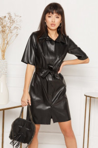 Rochie gen câmașă din piele ecologică