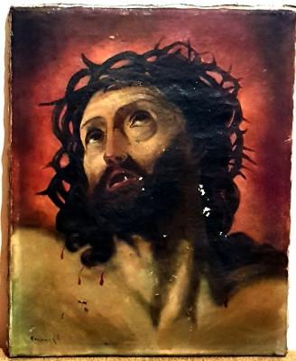 Reducere! Tablou vechi scoala romana icoana Isus mantuitorul pictura ulei panza foto