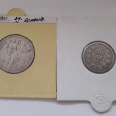 1 Leu 1910 si 50 Bani 1900 Lot monede argint Romania Carol I !
