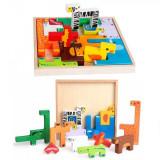 Puzzle Educativ Copii tip Tetris cu Animalute de Lemn