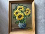 Tablou,pictura germana  miniaturala in ule pe lemni,floarea soarelui, Flori, Ulei, Altul