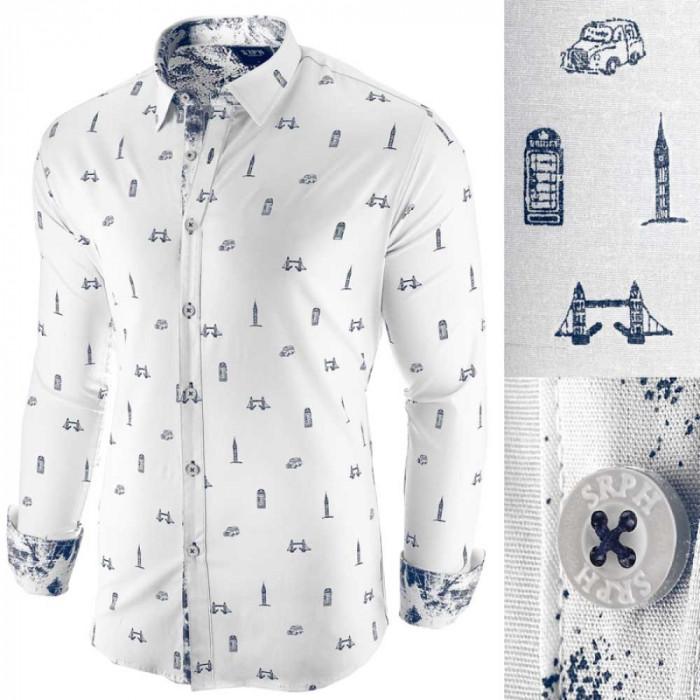 Camasa pentru barbati, alba, slim fit, casual - London Town Cool