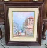 Tablou - Pictura in ulei, peisaj citadin Paris, rama din lemn