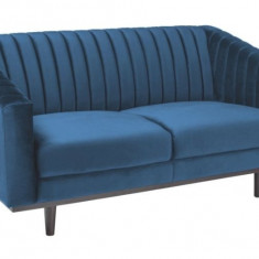 Canapea fixa tapitata cu stofa, Asprey 2 Velvet Blue, l150xA60xH78 cm