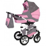 Carucior Copii Flamingo Easy Drive 3 in 1 - Vessanti - Gray/Pink