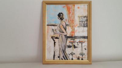 """PICTURA, TABLOU modern, decorativ,""""La bar""""  NOU,  pictor roman consacrat foto"""