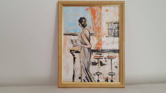 """PICTURA, TABLOU modern, decorativ,""""La bar""""  NOU,  pictor roman consacrat"""
