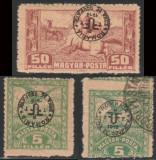1919 Romania - 3 timbre cu erori de supratipar & perforare Emisiunea Debretin II