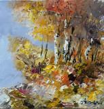 Tablou ulei (15/15 )-TOAMNA, Flori, Impresionism