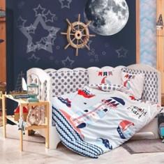 Lenjerie Pătuț Bebe - Bumbac 100% - Hobby Home - Baby Sailor Blue - HBB-01