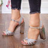 Sandale dama cu toc gros argintii Lacra -rl