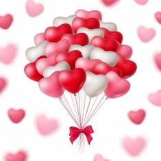 Baloane inimioare 25cm Albe Rosii Roz set 100 buc