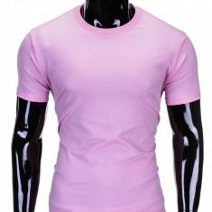 Tricou pentru barbati roz simplu slim fit mulat pe corp bumbac S620