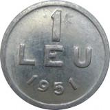 Romania, 1 leu 1951 * cod 101, Aluminiu