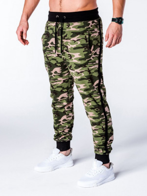 Pantaloni pentru barbati, camuflaj, stil militar, army, slim, verde, cu banda, siret si buzunare - P183 foto