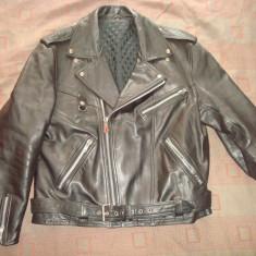 Geaca Moto/Motor/Rock/Rocker/barbati/vintage/casual/piele naturala de bovina, XL/XXL, Negru