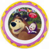 Farfurie plastic Masha and The Bear 22cm Lulabi, Multicolor