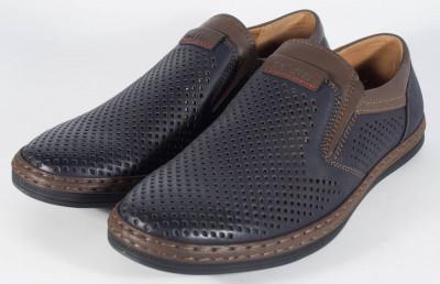Pantofi bleumarini perforati de vara (cod 061221) foto