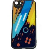 Cumpara ieftin Husa Capac Spate Color Glass Pattern 1 Multicolor Apple iPhone 7, iPhone 8, Star