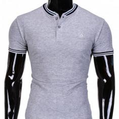 Tricou pentru barbati, stil tunica, gri simplu, slim fit, casual - S843