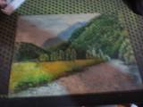 Lucrare ulei pe carton dim 26x18cm boxa, Peisaje, Altul