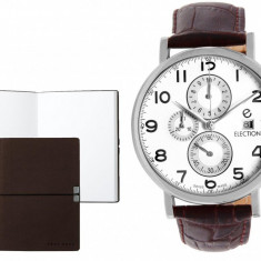 Set CEAS ELECTION CLASSIC TRADITIONAL CHRONO BROWN si Note Pad Burgundy HUGO BOSS