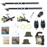 Cumpara ieftin Set de pescuit cu 2 lansete Eagle King 3m, doua mulinete cobra, 2 senzori, proiector solar si accesorii