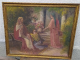 Tablou vechi semnat tema religioasă catolic, Nonfigurativ, Ulei, Impresionism