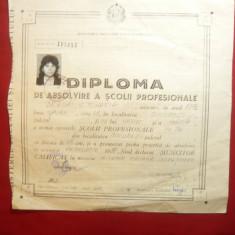 Diploma de Absolvire a Scolii Profesionale 1970 Bucuresti - Tricoter Mecanic