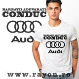 Cumpara ieftin Tricou Personalizat , Bumbac – Barbatii adevarati conduc AUDI
