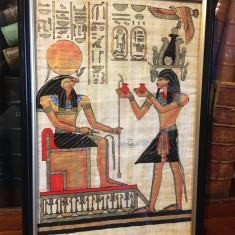 Tablou vechi superb - artă egipteană pe papirus original (înrămat, 22x32 cm.)