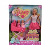 Papusa Steffi Love cu gemeni in carucior roz