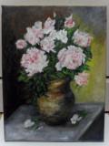 Trandafiri in vaza 3-pictura ulei pe panza, Flori, Altul