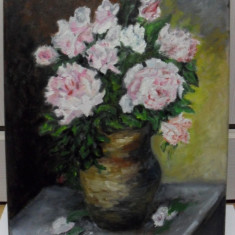 Trandafiri in vaza 3-pictura ulei pe panza