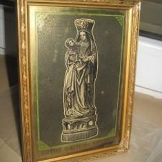 A265-Fecioara cu Pruncul Notre Dame de Foy gravura alama rama lemn aurit 1900.