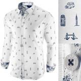 Camasa pentru barbati alba slim fit casual London Town Cool