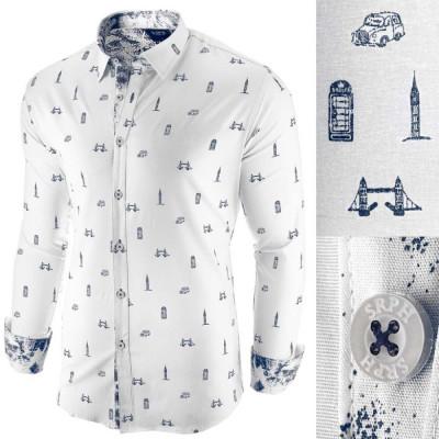 Camasa pentru barbati alba slim fit casual London Town Cool foto
