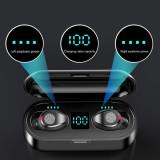 Casti bluetooth2020, F9-5 TWS LED, Bluetooth 5.0, Stereo, Wireless, Negru, Casti In Ear