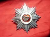 Placa de la Ordinul Coroana Romaniei ,argint si email , marcata , interbelica