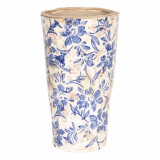 Vaza ceramica alb albastru vintage model floral Ø 17 cm x 30 cm Elegant DecoLux, Clayre & Eef