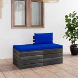 VidaXL Set mobilier grădină din paleți, 2 piese, cu perne, lemn de pin
