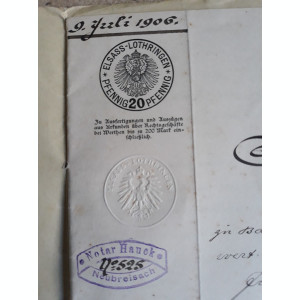 ACTE NOTARIALE VECHI 1906 - MARCA FIXA - TIMBRU SEC - FILIGRAN - CALIGRAFIE