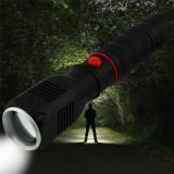 Lanterna CREE LED SMD 10W cu Zoom reglabil, 2000 lm, raza 300 m, incarcator auto, aluminiu, stroboscop